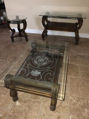Set of 3 Glass Top Tables for Sale in Phoenix, AZ