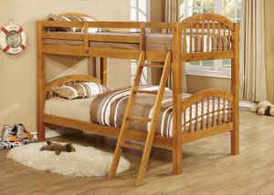 😀3340 Bunk bed SOLID WOOD CHERRY COLOR W/TRUNDLE TWIN over TWIN and TRUNDLE. 🚚 FAST DELIVERYCHARLOTTE AREA 🚚🔥🔥***buysmart and SAVE 💰!!!!🔥🔥 Is very for Sale in Charlotte, NC