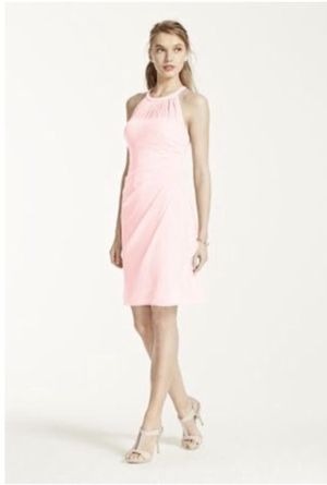David's Bridal Sleeveless Short Mesh Dress with Side Cascade for Sale in Sacramento, CA