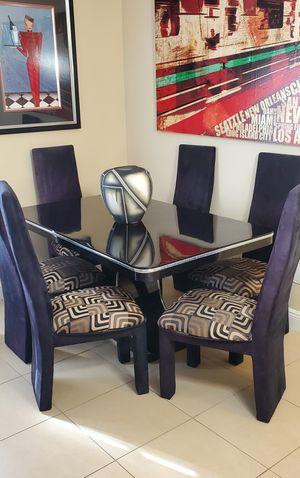 Black Italian lacquer dining room set for Sale in Boca Raton, FL