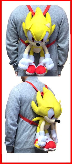 NEW! Super Sonic The Hedgehog soft plush toy Backpack stuffed toy cartoon anime movie video games kid's bag Sega for Sale in Carson, CA