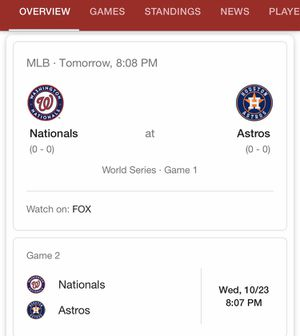 Nats Nationals World Series watch party tickets for Sale in Woodbridge, VA
