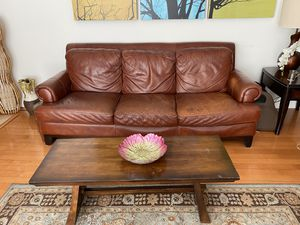 Italian Leather Couch and Coffee Table for Sale in West Hollywood, CA