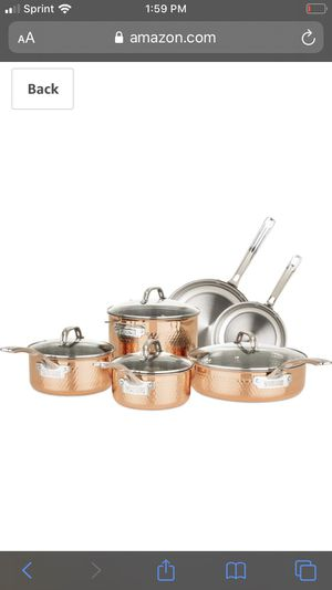 Copper and stainless 10pc pot sets for Sale in Jonesboro, GA