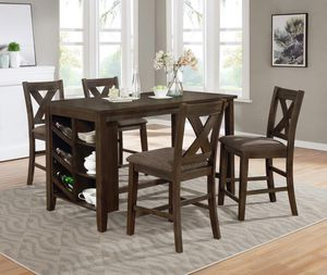 5 piece brown Wire Brushed Counter Height Dining Table Set Storage Shelves for Sale in San Bernardino, CA