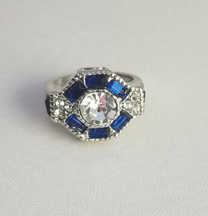 White amd Blue Sapphire 18kt White Gold Filled Ring Size 6,7,8 for Sale in Silver Spring, MD