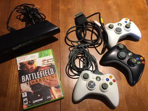 XBOX 360 (3) wireless remotes, game, Kinect, extra cord (audio/video), play & charge USB for Sale in Murrieta, CA