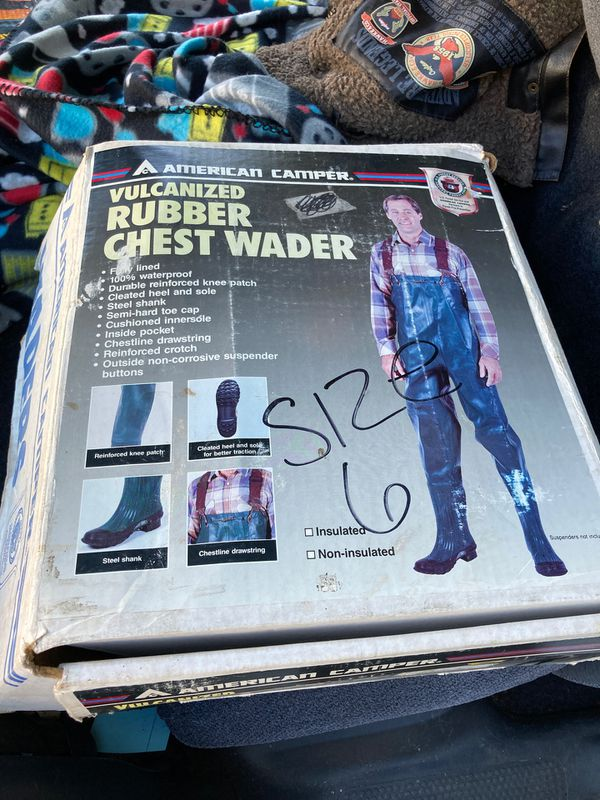 American Camper Vulcanized Rubber Chest Wader (size 6, feels like an 8?)