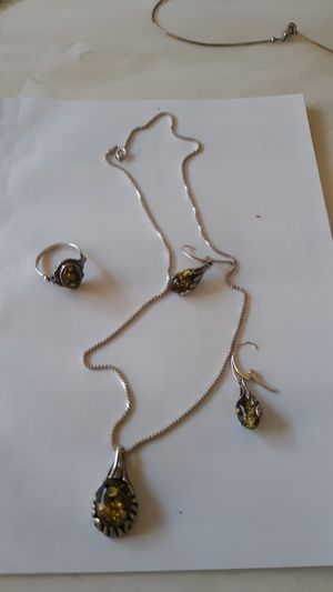Amber necklace set pendant earrings and ring for Sale in Sanford, FL