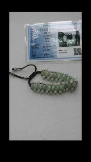 Certified genuine green jade rice beads bracelet adjustable for Sale in El Sobrante, CA