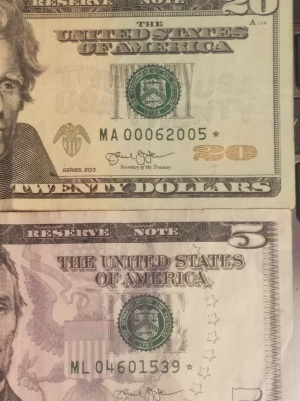Crisp,$20&$5 dollar star notes perfect ,low serial#