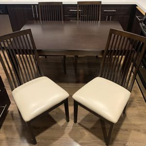 """Stunning PRISTINE Condition Japanese Solid Wood Kitchen Table With 4 Leather Chairs - 53""""x33.5""""x28"""" for Sale in San Diego, CA"""