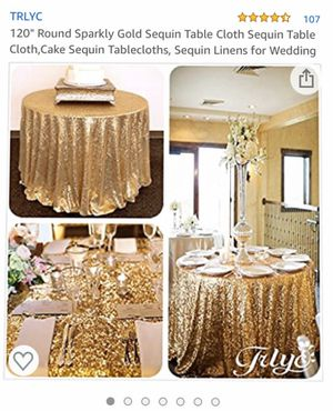 "120"" Round Sparkly Gold Sequin Table Cloth for Wedding for Sale in Aspen Hill, MD"