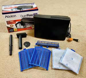 In Box Working Aqueon QuietFlow 75 LED Pro Cartridge Change Indicator 90 Gallon HOB Water Self-Priming, Very Quiet Filter & 2 New Filters Included Fo for Sale in Raleigh, NC