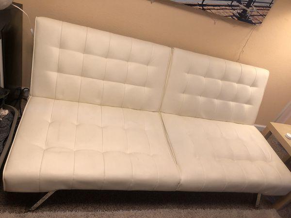 White Faux Leather DHP Emily convertible futon & White Faux Leather Chair