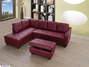 Brand new in stock red faux leather sectional storage Ottoman and cup holder for Sale in Beltsville, MD