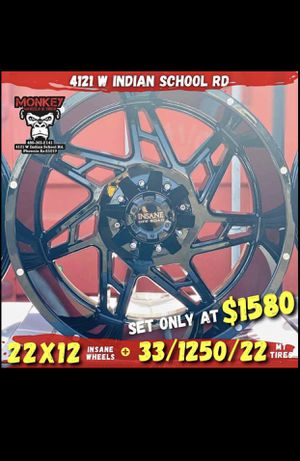 wheels and tires all 4 MONKEY WHEELS AND TIRES 4121 W Indian School Rd Phoenix, Az 85019 *480== 307==2141 for Sale in Tempe, AZ