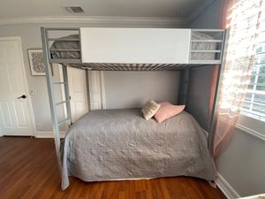 Silver and white metal bunk bed for Sale in Fort Lauderdale, FL