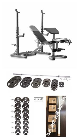 WEIDER HOME GYM SET: with Bench, Independent Rack, preacher curl, leg Developer and 300lb Olympic weight set with bar & clips for Sale in Temecula, CA