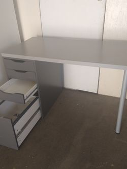 Ikea Desk With Alex Drawers 47X23X29H Gray Color for Sale in Baldwin Park,  CA