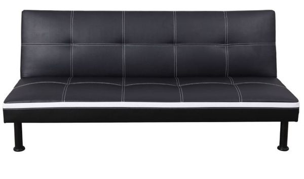 Brand New Black Leather Tufted Futon & Free Delivery