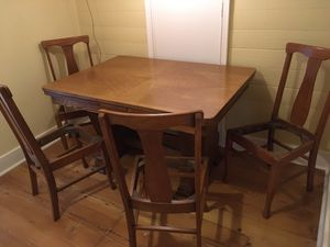 Antique quarter sawn oak dining table and chairs for Sale in Portland, OR