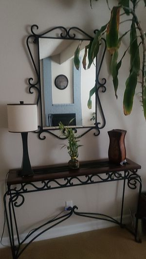 Wrought iron table with mirror for Sale in Alta Loma, CA