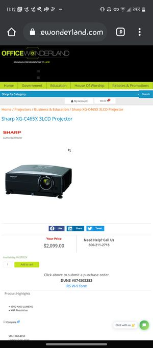 Sharp XG-C465X 3LCD Projector for Sale in Reed, KY