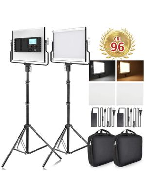 Video Light with 79 inches Stand LCD Display Bi-Color 3960 Lux SMD LED CRI 96+ U-Bracket Metal Shell Video Lighting Kit for Youtube Studio Photograph for Sale in Riverview, FL