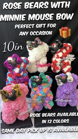 🌹🧸🎁🍭 Beautiful Rose Bears with Minnie Mouse Bow. 10in Tall. Same Day Pick Up Is Available. Roses Are Made Out Of Foam. for Sale in Lynwood, CA