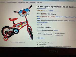 New Christmas ANGRY BIRDS 12 inch Bike with Training Wheels for Kids for Sale in West Covina, CA