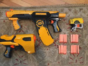 Nerf gun lot with Quick 16, dart tag, and more for Sale in Los Angeles, CA