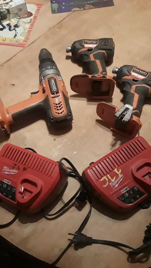 Ridgid impact drills and Milwaukee m12 chargers for Sale in Bristol, PA