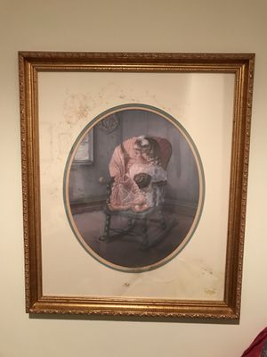 Beautiful Gold Matted Picture of little girl in her rocking chair for Sale in Gainesville, VA