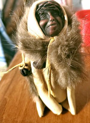 Antique Real Leather Wood Carved Inuit Eskimo D for Sale in Leesburg, FL