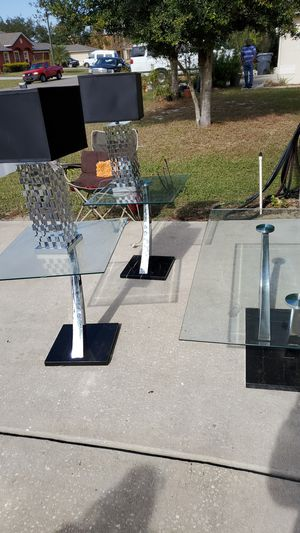 3 set of table & two lamp glass top for sale for Sale in Kissimmee, FL