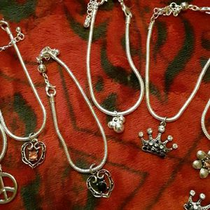 New Silver Tone Bracelets Have (7) Styles In Charms (U Can Put More Charms Or Beads.Also Has An Extender for Sale in Fall River, MA