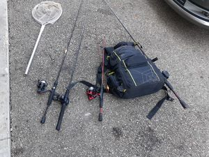 fishing stuff tons of plastics and boxes full of lures extra reels one catfish pole make offer for Sale in London, OH