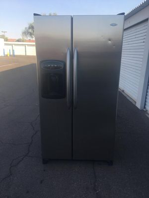 maytag side by side stainless steel refrigerator, in good condition works Everything very well, one month warranty deliver available, W36 - D32-H69 for Sale in Tempe, AZ