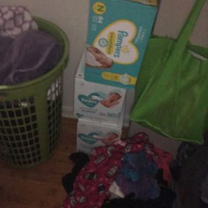 New Born Boxes Of Pampers And Wipes And Clothes Brand New for Sale in Ypsilanti, MI
