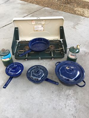 Camping Stove and Pots n Pans n Propane Tanks for Sale in Stockton, CA