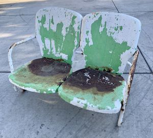 Cool Patina original vintage Rusty 1960s clam shell chair double bench for Sale in Los Angeles, CA