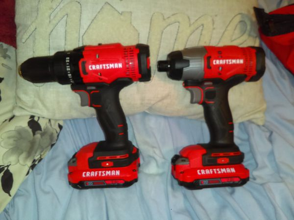 Craftsman v20 volt Max 8 tool set with 2 tool bags 2 batteries and a quick charger