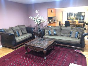 Leather and upholstery sofa set and loveseat with coffee table and end table for Sale in San Jose, CA