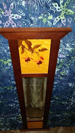Beveled Mirror w/inlaid wood art top fuchsias butterflies on bottom for Sale in Palo Alto, CA