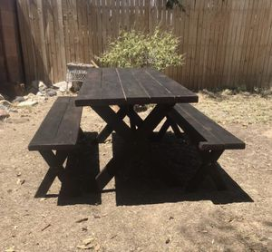 Dinning Table • Farmhouse • Wood Table With Benches for Sale in Phoenix, AZ