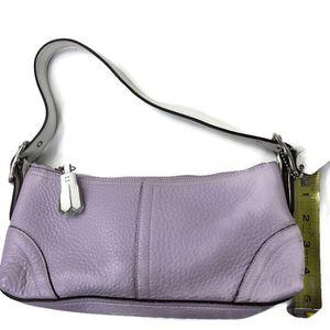 Coach HandBag Women Wristlet Lilac purple White Strap Pebbled Leather Baguette for Sale in Rockville, MD