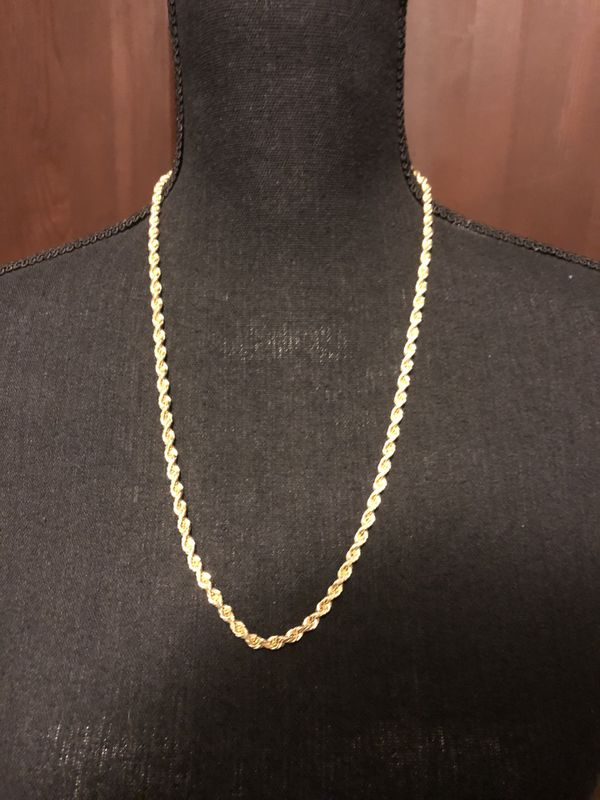 """10k SOLID GOLD ROPE CHAIN 5MM 24"""""""