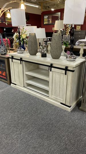 Off White Console Table or TV Stand with Sliding Cabinet Doors O4 for Sale in Grapevine, TX