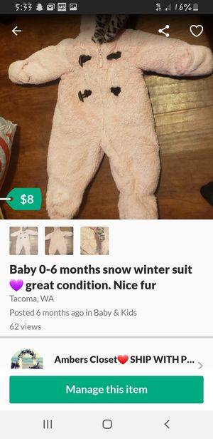 Baby winter suit. Like new. Pink for Sale in Tacoma, WA